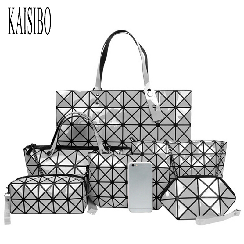 KAISIBO 2018 Nouveau Diamant Treillis Femmes Sacs Géométrie Laser Sac À Main Femmes Sac Totes Sac à Bandoulière Dames Bolsa Feminina 6 Set