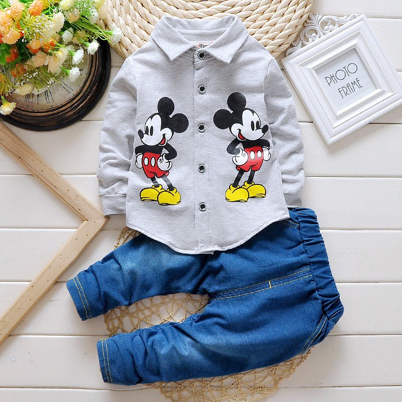 fashion Spring autumn Kids mickey mouse Clothing Sets baby Boys clothes Child Fashion Gentleman long sleeve t shirt +jeans suit brand fashion kids summer slim top mickey kid t shirt minnie mouse boys clothes shirts cotton short sleeve tee shirt