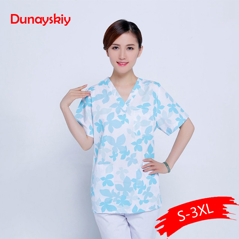 Women Medical Clothes Nursing Clinic Tops/Pants Short Sleeve Surgical Scrubs Tops / Trousers Hospital Uniform Printed Scrub Sets