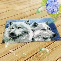 Segment dywanowy haftowany materiał zatrzask-zestaw haczyków z motywem wilka DIY rzemieślnicze dywan haftowane akcesoria dywan zrób to sam