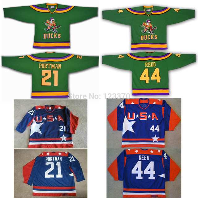 32f026d5749 custom 21 dean portman 44  Fulton Reed jersey mighty ducks movie jersey team  usa hockey jersey green blue swen Any Name NO. size