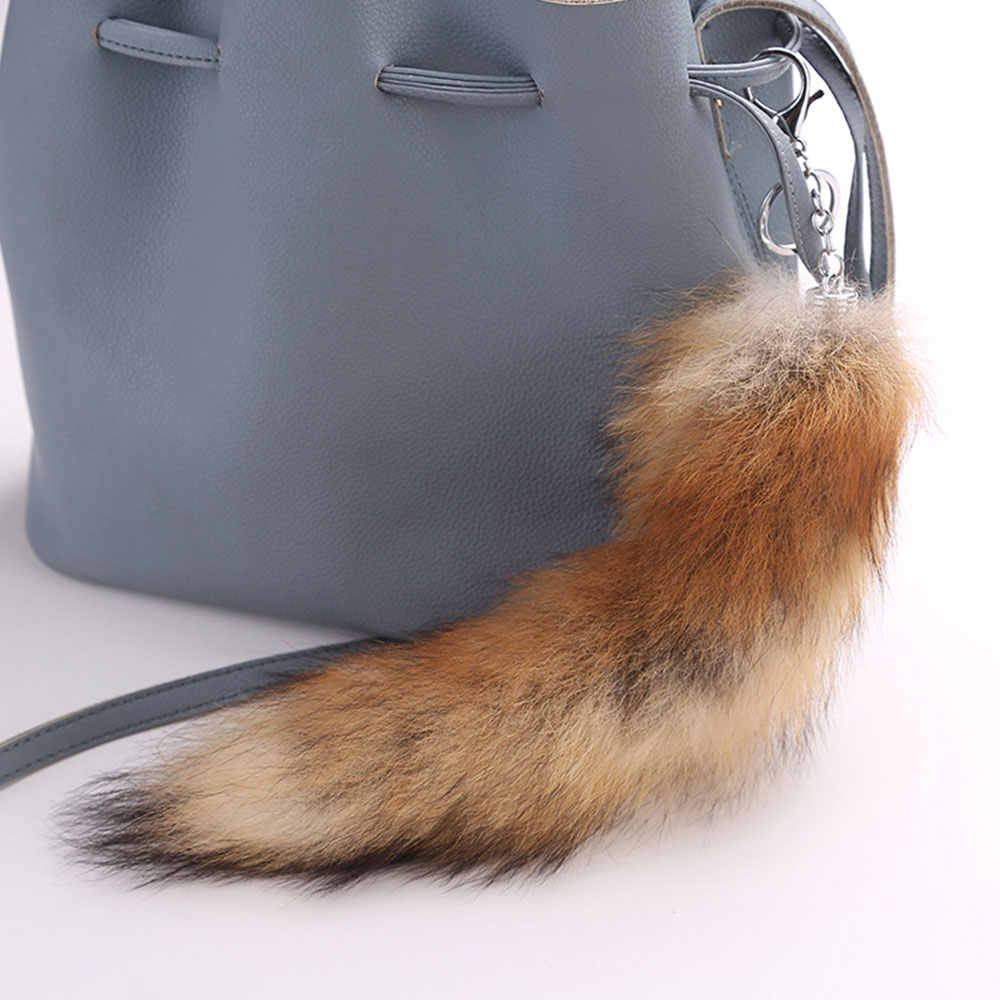 Jóias da moda Fofo Keychain Da Cauda Da Raposa Artificial Grandes Encantos Pingente de Lobo Cauda Fur Tassel Bag Tag Chaveiro Cadeia Cinta