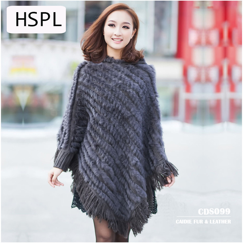 HSPL Real Rabbit fur knited Poncho 2017 Hot sale Large Knitted Genuine  Fur Hooded Shawl Women Large  Cape Shawl For Ladies
