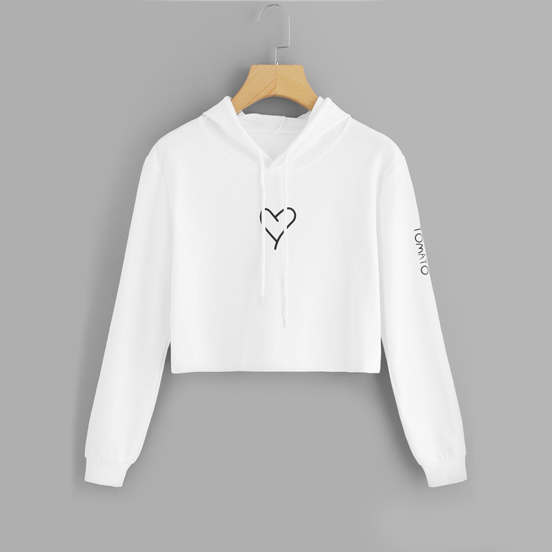 Heart Print Cropped Hoodie For Women