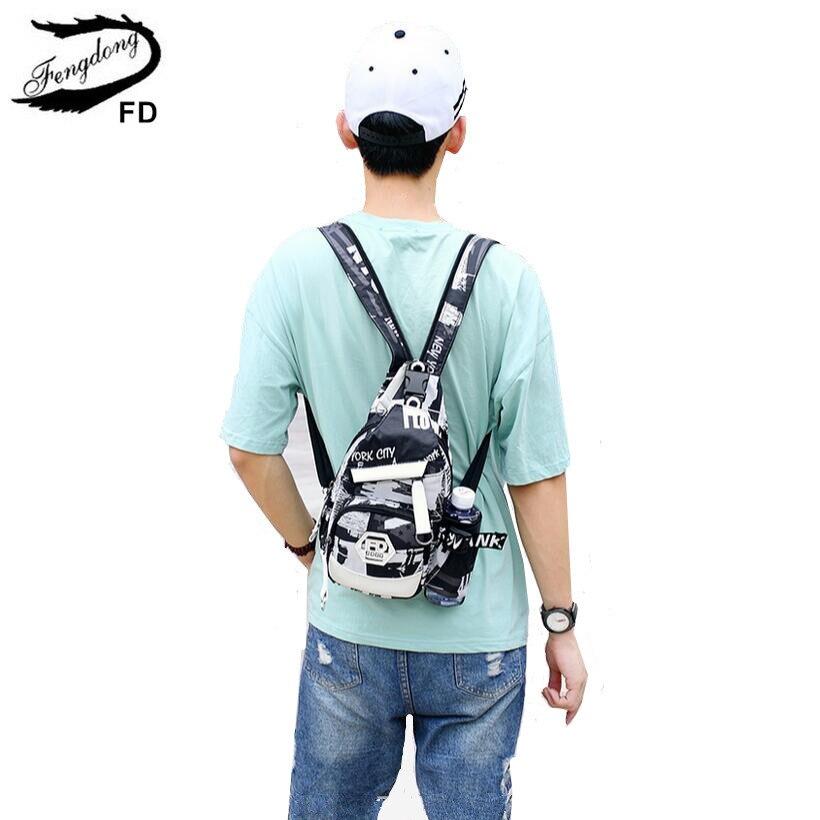 descuento más bajo rendimiento confiable diseño exquisito € 13.31 41% de DESCUENTO|FengDong hombres bolsa de agua pequeña mochila  mini bolsas para niños multifuncional chico bolsa de pecho negro y blanco  ...