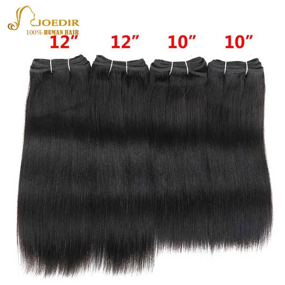 Joedir Pre-gekleurde Braziliaanse Steil Haar 4 stks Een Verpakking 190 gram Braziliaanse Yaki Menselijk Haar Bundels Weave Kleur 1 & 1B Niet Remy