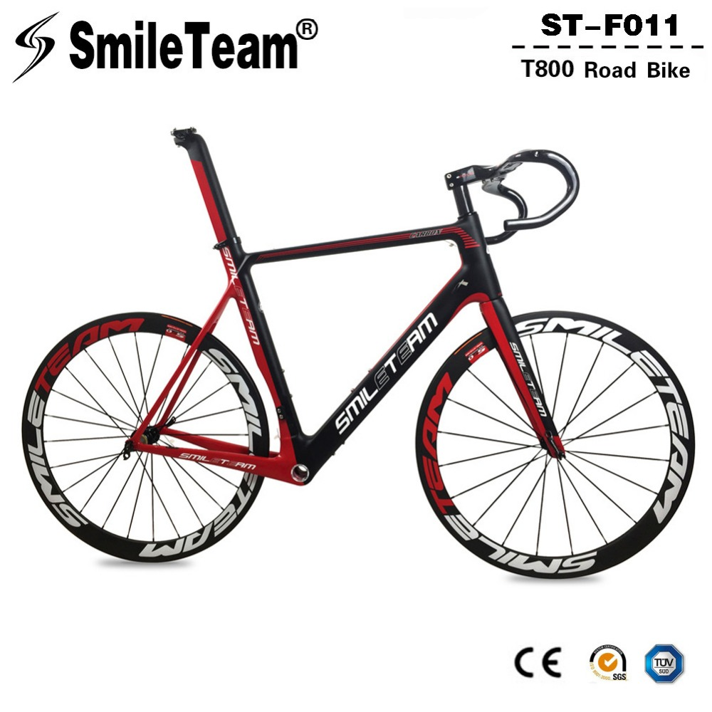 Smileteam Aero Carbon Fiber Road Bike Frameset With Wheelset Handlebar BSA Full Carbon Racing Bicycle Frameset 2 Year Warranty 2018 carbon fiber road bike frames black matt clear coat china racing carbon bicycle frame cycling frameset bsa bb68