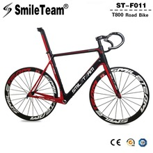 Smileteam Aero Carbon Fiber Road Bike Frameset With Wheelset Handlebar BSA Full Carbon Racing Bicycle Frameset 2 Year Warranty