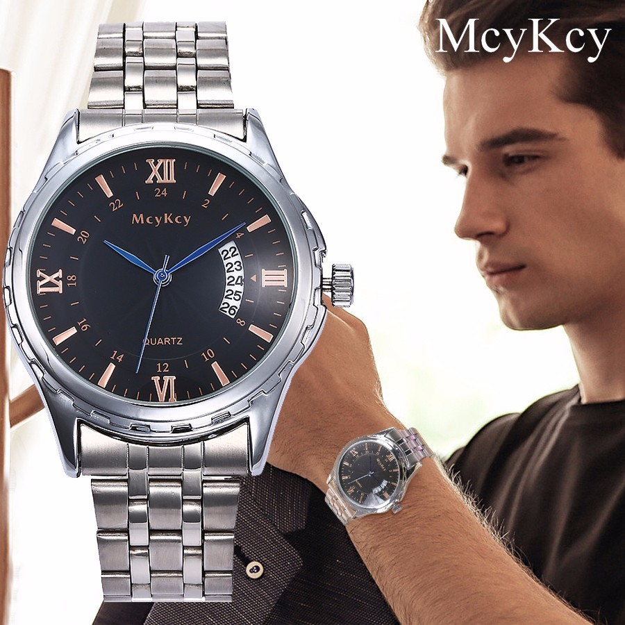 McyKcy Brand Men Stainless Steel Watch Waterproof Clock Luxury Fashion Casual Business Quartz Wristwatch Relogio Masculino все цены