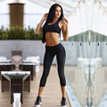 2016 Sexy Womens Sport Suit 2 PIece Set Sexy Perspective Crop Tops +Stitching Cropped Pants Push Up Femme Set