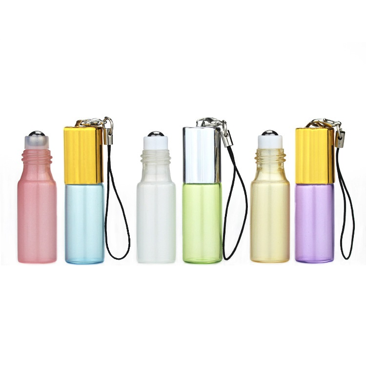 100 X 3ML Pendant Pearl Shine Portable Essential Oil Bottle with Lobster Hook Steel Ball Roll