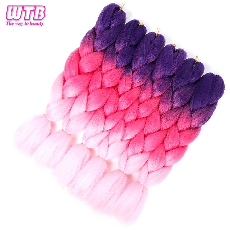 WTB Hair 100g/pack 24inch Long Jumbo Synthetic Braiding Hair Pink Blue Purple Ombre African Crochet Braids Hair Extensions