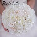 Perla de las novias de la boda ramo de novia ramo de rose hydrangea flores artificiales hechas a mano 2017 gelin buket modabelle
