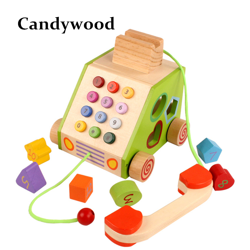 Kids Wooden Toys Classic Wood Telephone Multifunction Drag Telephone Toy Furniture For Dolls Miniature Furniture Toys Education ...