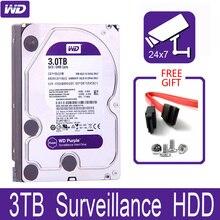 """WD الأرجواني 3 تيرا بايت مراقبة محرك الأقراص الصلبة الداخلي القرص 3.5 """"64 متر مخبأ SATA III 6 جيجابايت/ثانية 3t 3000 جيجابايت HDD HD القرص الصلب ل CCTV DVR NVR"""