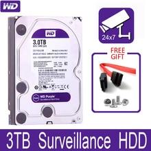 "WD סגול 3TB מעקב קשיח פנימי כונן דיסק 3.5 ""64M מטמון SATA III 6 Gb/s 3T 3000GB HDD HD כונן קשיח עבור טלוויזיה במעגל סגור DVR NVR"