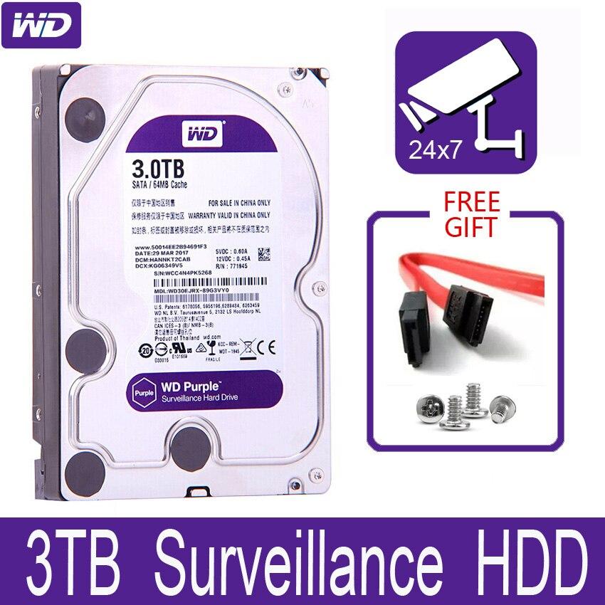 """WD fioletowy 3TB nadzoru wewnętrzny dysk twardy dysku 3.5 """"64 mb pamięci podręcznej SATA III 6 Gb/s 3T 3000GB HDD HD dysk twardy dla CCTV DVR NVR"""