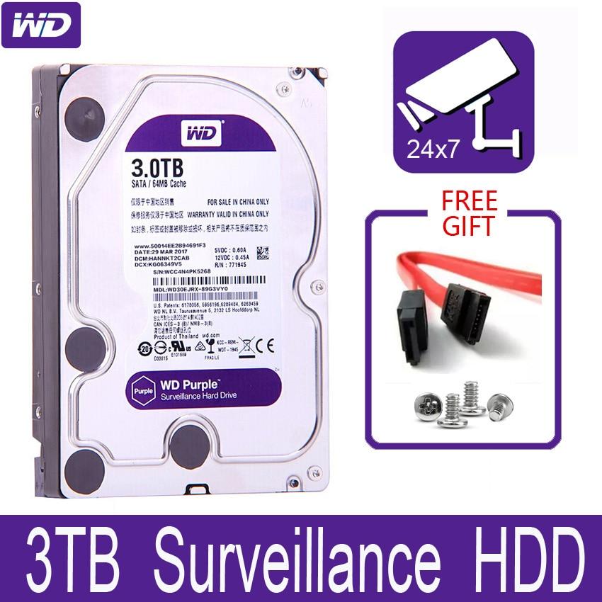 "Wd purple 3tb disco rígido interno de vigilância, 3.5 ""64m cache sata iii 6 gb/s 3t 3000gb hdd hd disco rígido para cctv dvr nvr"