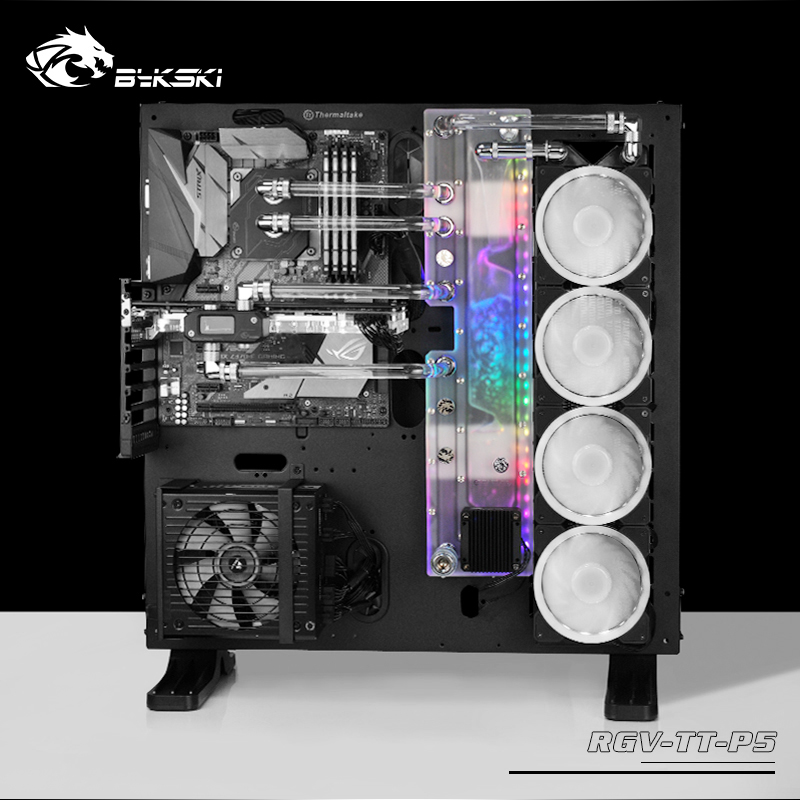 BYKSKI Acrylic Board Water Channel Solution use for ThermalTake/Tt Core P5 for CPU GPU Block / 3PIN RGB / Instead of Reservoir image