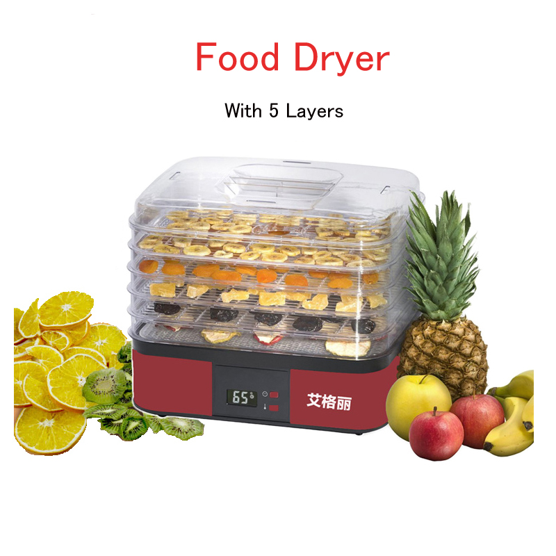 Electric Fruit/Vegetable Dehydrator 5 layers Food Dryer Small Dryer for Vegetables 250W Fruit Dehydrator Machine AG1001 10 layers stainless steel electric fruit vegetable dehydrator food dryer machine