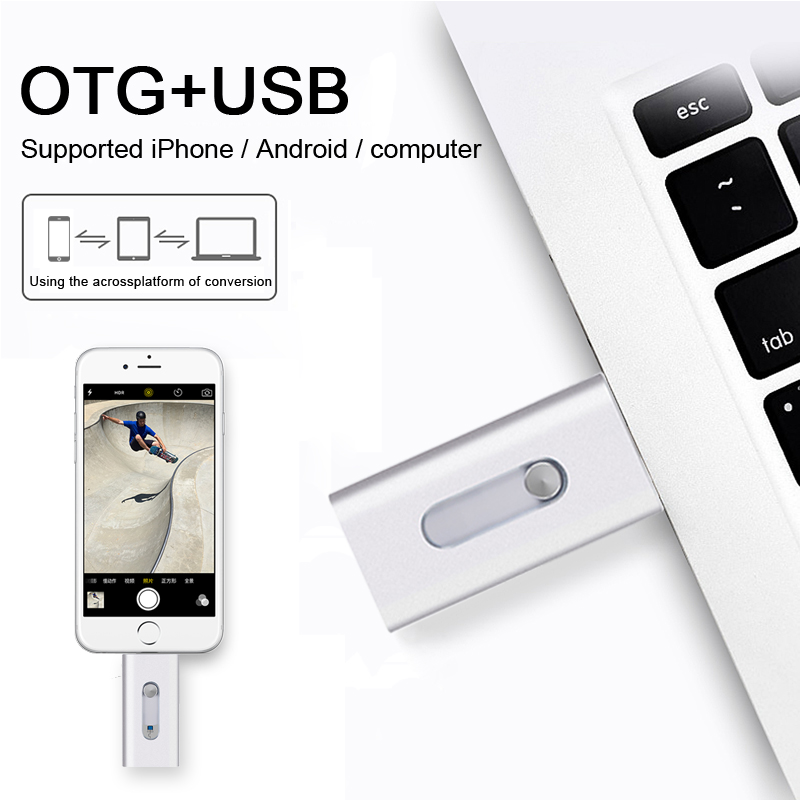 Metal OTG USB Flash Drive for iphone 5/5s/6/6 Plus/7/ipad/Android Smartphone High Speed USB3.0 OTG Flash Drive 32GB 64GB
