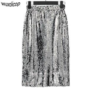 Image 2 - Shiny Stretchy High Waist Gold Black Silver Women Sequin Pencil Skirt Jupe Falda Saia Long Sexy Club Party Bodycon Midi Skirt