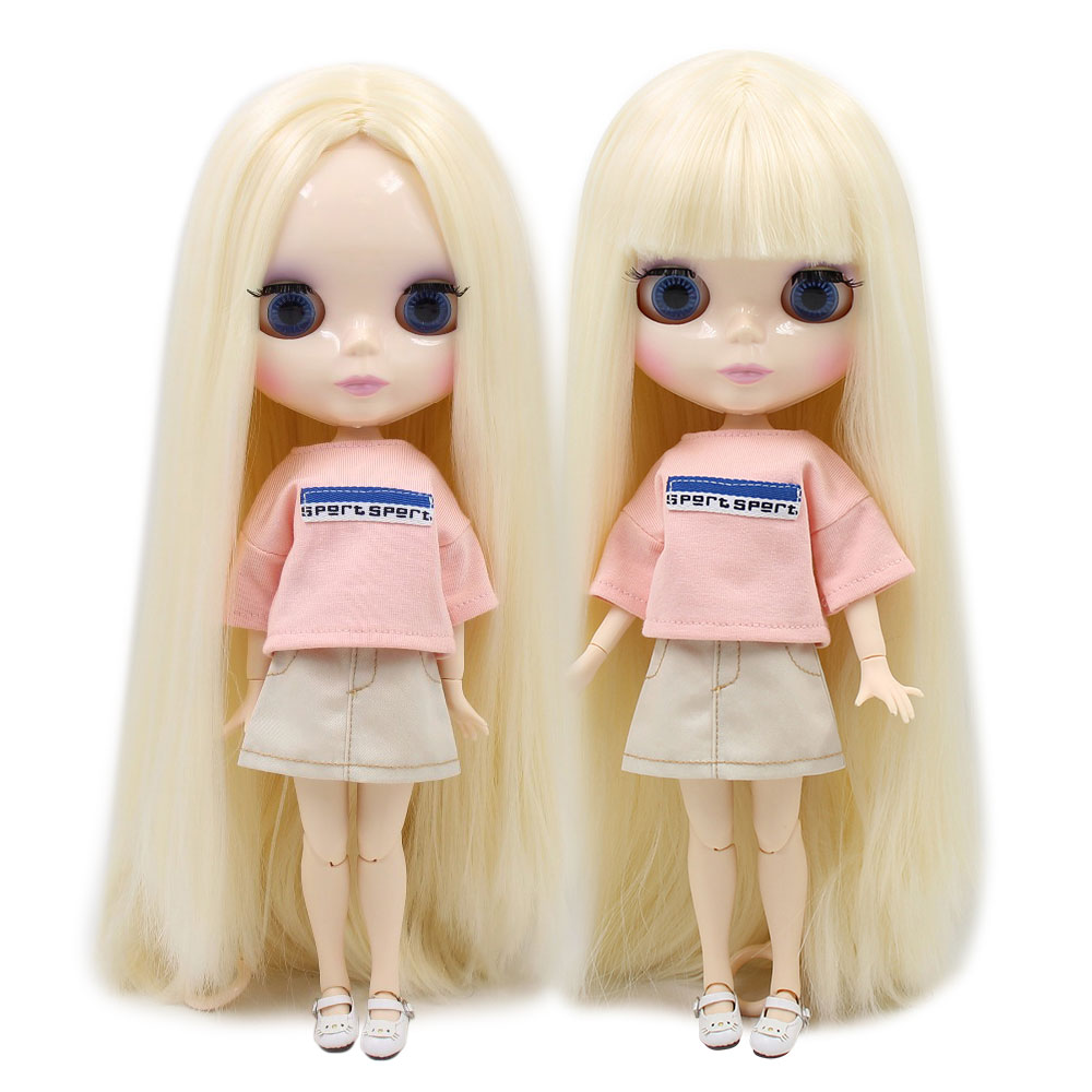 Oyuncaklar ve Hobi Ürünleri'ten Bebekler'de Fabrika blyth doll beyaz Bej düz SAÇ patlama ile/saçaklar 1/6 30cm beyaz cilt BL0510'da  Grup 1