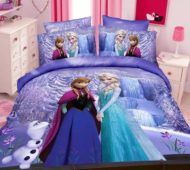 US $36.71 49% di SCONTO|Viola Congelato Elsa Anna set di biancheria da  letto della ragazza dei bambini arredamento camera da letto singolo letto a  due ...