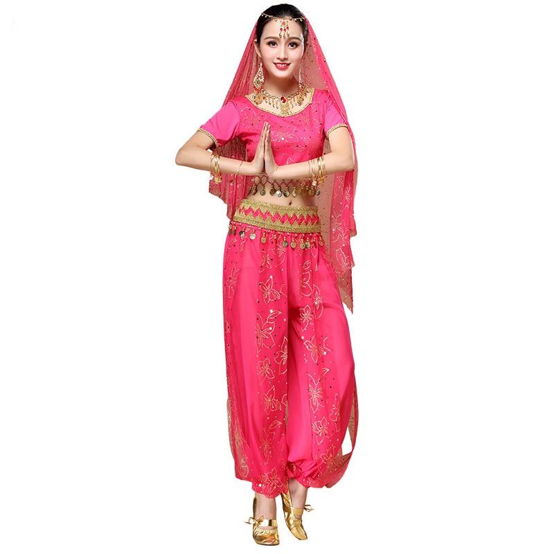 2018 Sari Dancewear Women Belly Dance Costume Set Indian Dance Costumes Bollywood Outfits (Top+belt+pants+veil+headpiece)