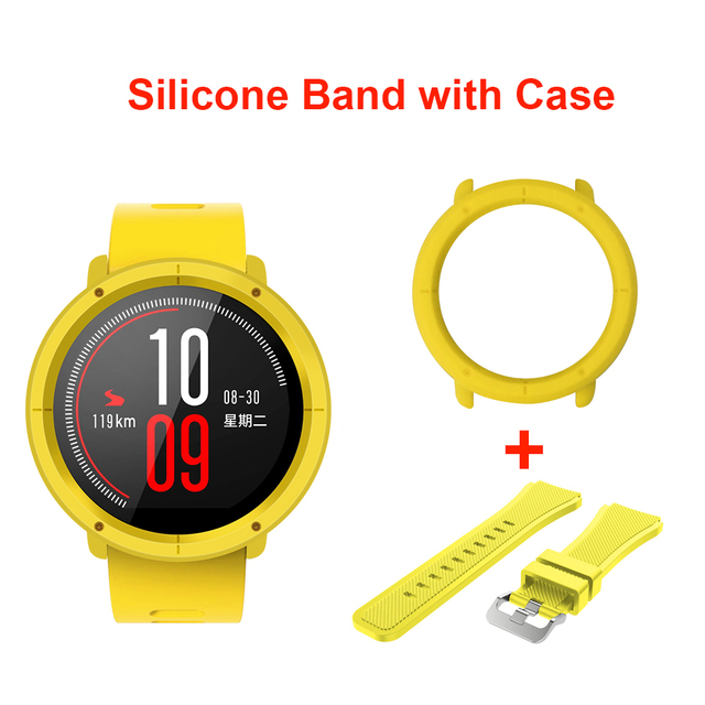 Sikai 22mm Soft Silicone Watch Band With Protective Case For Huami Amazfit Pace Bracelet