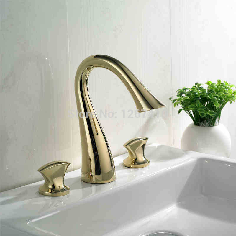 wholesale promotion for projects luxurious brass golden basin mixer 8 inch widespread bathroom faucetchina