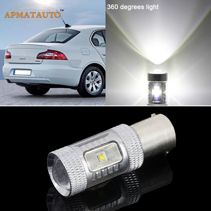 2 x  6000K White 1156 P21W  Canbus Error Free High Power 30W for CREE Chips LED Car Reverse Bulb Rear Light   For  Skoda ctavia ruiandsion 2x75w 900lm 15smd xbd chips red error free 1156 ba15s p21w led backup revers light canbus 12 24vdc