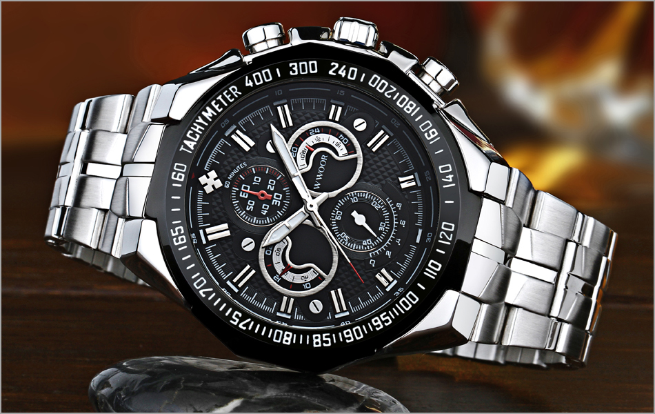 Topdudes.com - Top Quality Luxury 50M Waterproof Japan Quartz Stainless Steel Sports Watches