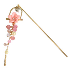 SANSUMMER Hairwear 2019 New Style Fashionable Retro Romantic Pink Cherry Flowering Beads And Long Fringed Archaian Hairpin 6737