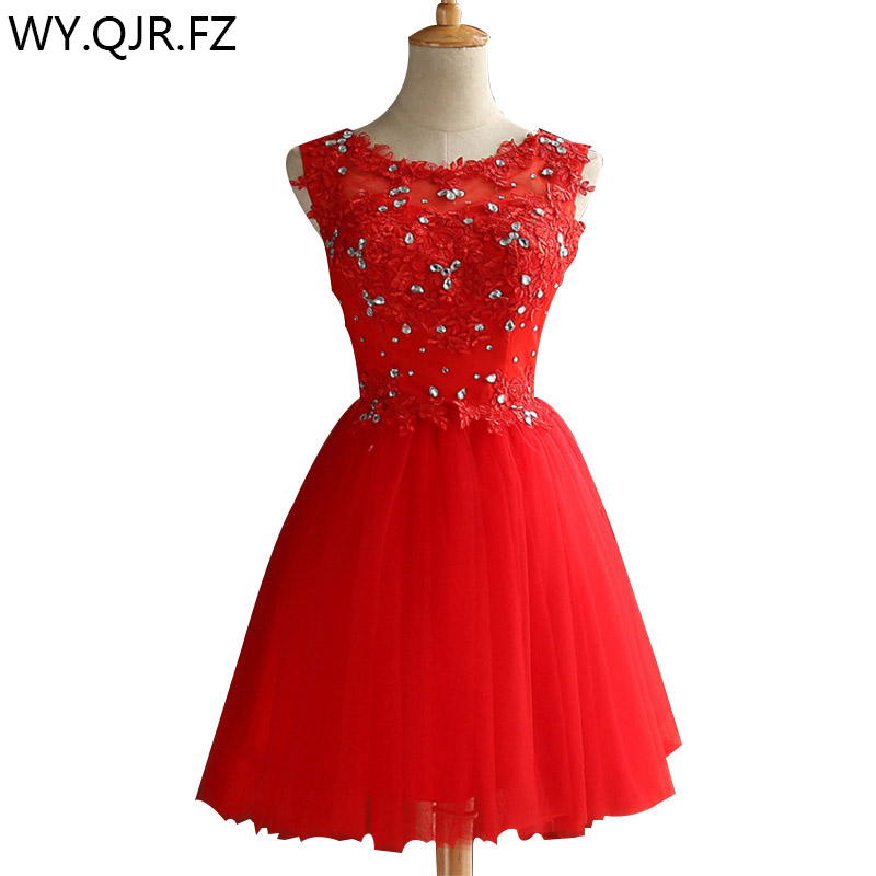 ZHHS-XZ#Lace up diamond short red   bridesmaid     dresses   wholesale cheap wedding party prom   dress   2018 spring new champagne white