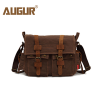 AUGUR Men S Shoulder Bag Leather Vintage Military Men Canvas Messenger Bag College School Crossbody Bags
