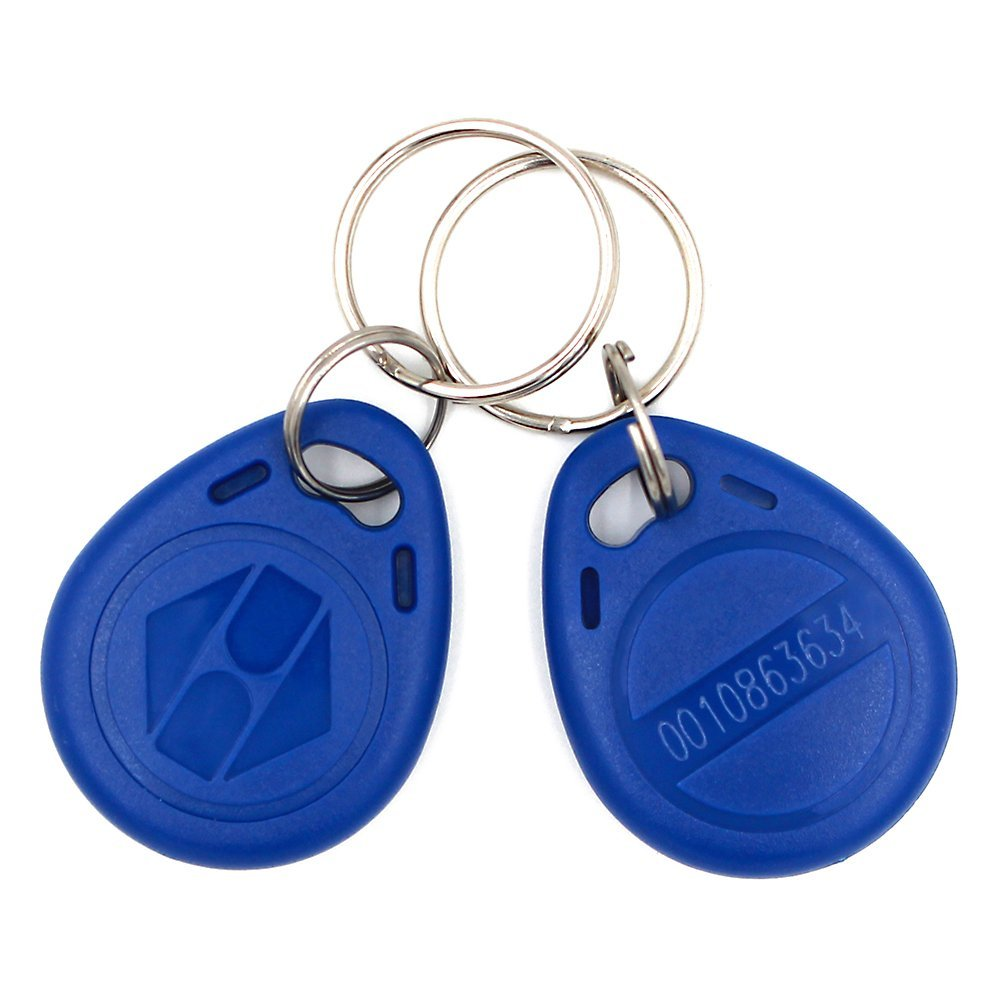 20Pieces EM4100/TK4100 EM Key Fob 125KHz RFID ABS Keychain Tag Read Only, Blue Color Access control key card non standard die cut plastic combo cards die cut greeting card one big card with 3 mini key tag card