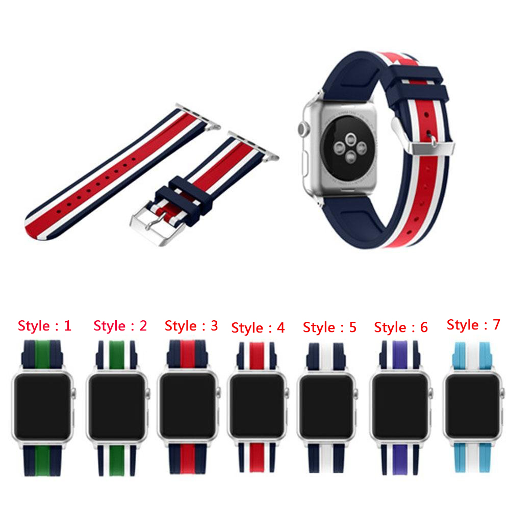 Sport Band for Apple Watch 38mm and 42mm, Soft Silicone Strap Replacement iWatch Bands for Apple Watch Sport,Series 3/2/1 colorful soft silicone sport band for apple watch bands 42mm wrist bracelet strap for apple watch series 3 2 1 iwatch watchbands