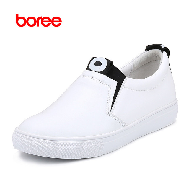Boree Spring Women's Fashion Casual Shoes, Genuine Leather Platforms Loafers, Breathable Fabric, Zapatos Mujer Solid Shoes 468