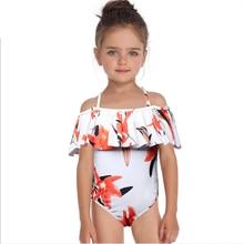 Toddler Kids Swimming Girls Printed Ruffled Children Swimwear 2019 Summer Cute Baby Girls One Piece Swimsuit Beach Bathing Suit цена