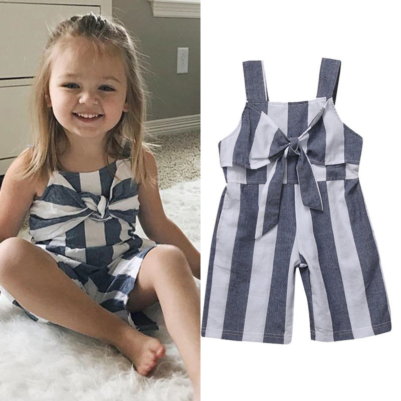 Children Girls Summer Striped   Rompers   Jumpsuit Sleeveless Bow Tie Lovely Casual Clothes Outfits Playsuit
