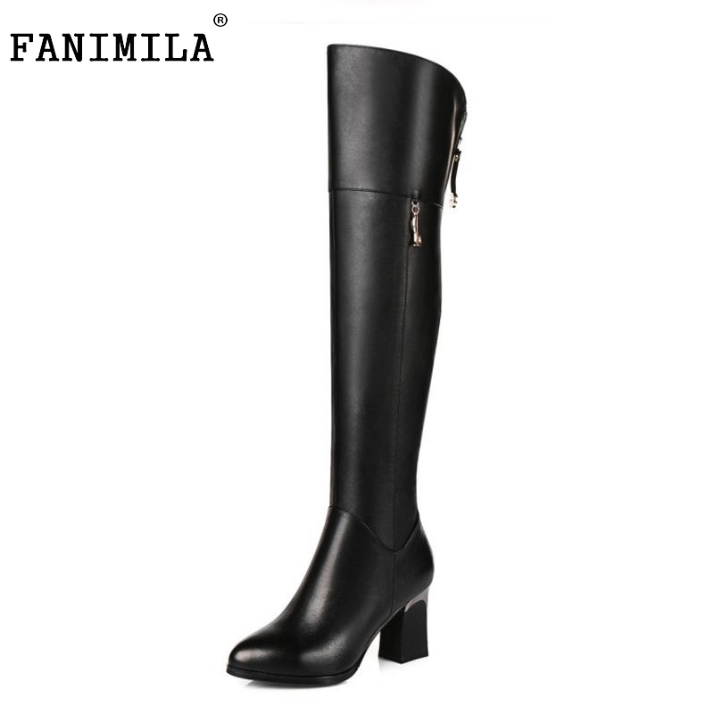 Women Genuine Real Leather Over The Knee Boots Winter Boots Sexy High Heel Fashion Round Toe Zipper Women Boots Shoes Size 33-42