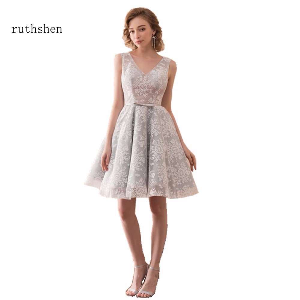 ruthshen New Hot Sell 2018 Cheap   Bridesmaid     Dresses   V-neck Lace Knee Length Robe De Mariee Wedding Party   Bridesmaid   Gowns