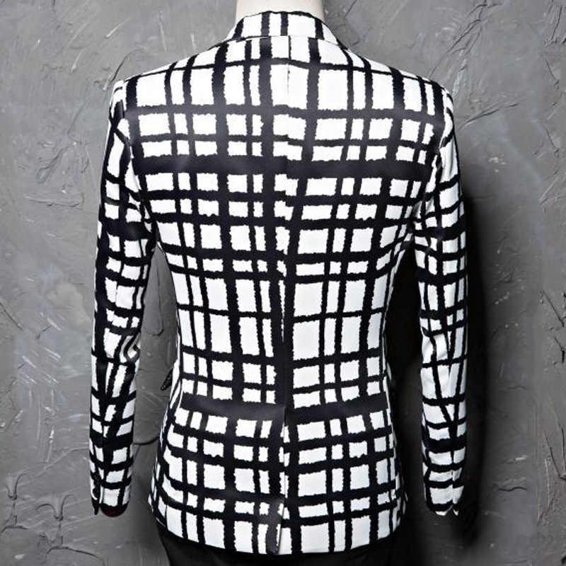 黒白のチェック柄プリントブレザージャケット男性カジュアルスリムフィット男性のウェディングドレススーツコート歌手の Dj パーティーバーチェック衣装 Terno