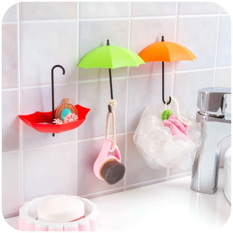 3Pcs Colorful Umbrella Wall Hook Key Hair Pin Holder Organizer Decorative New Umbrella Wall Hooks Housekeeping Organization