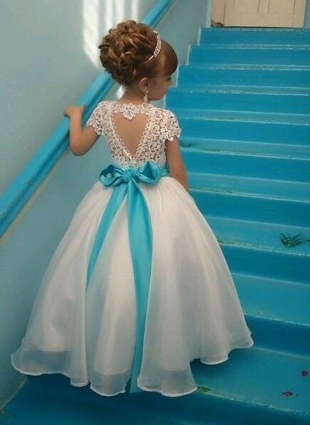 Backless 2018   Flower     Girl     Dresses   For Weddings Ball Gown short Sleeves Tulle Lace Long First Communion   Dresses   For Little   Girls