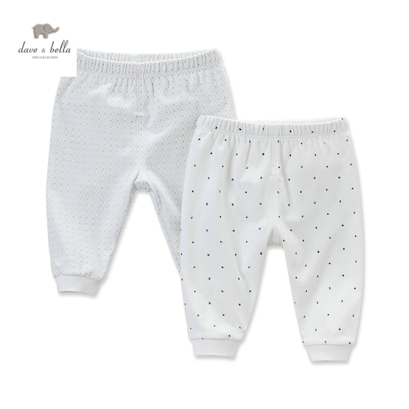 DB4623  dave bella autumn new born baby boys girls sleep bottoms dots printed pajamas bottoms baby pink blue underwear
