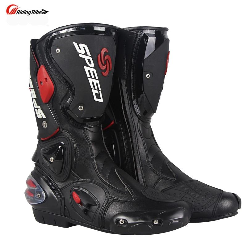 Stivali Da moto Velocità degli uomini di Corse di Motocross In Microfibra In Pelle di Avvio Moto goccia resistenza stivali - 2