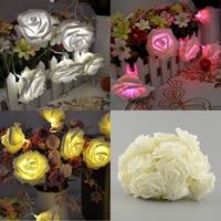 20LED Rose Flower Battery Romantic Garden Wedding Christmas Patio Fairy Gorgeous String Garland Decor Light Decration
