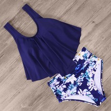 High Waist Bikini Push Up Swimwear Women Swimsuit Plus Size Bikini Set 2019 Ruffle Two Piece Halter Swim Wear Women plus size halter neck printed high waist bikini set for women